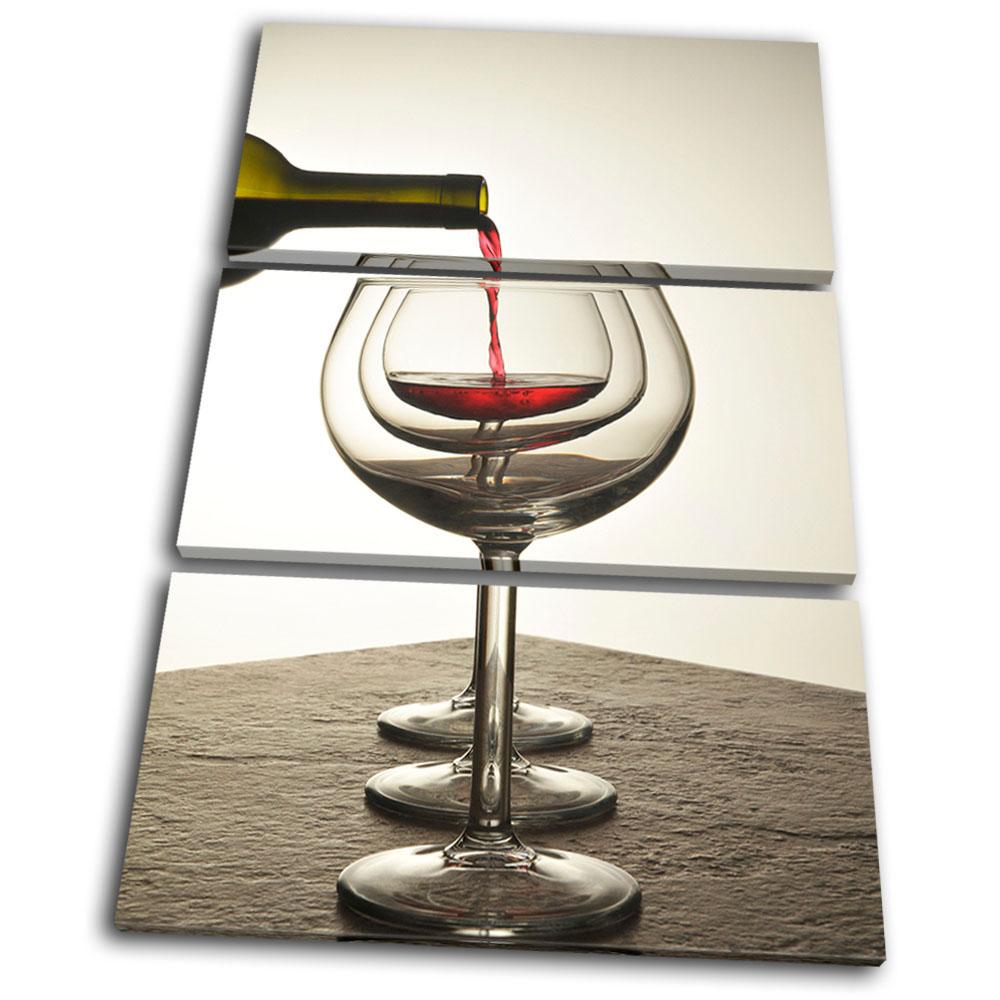 Kitchen Wine Wall Art: Food Kitchen Red White Glass Wine Treble Canvas Wall Art