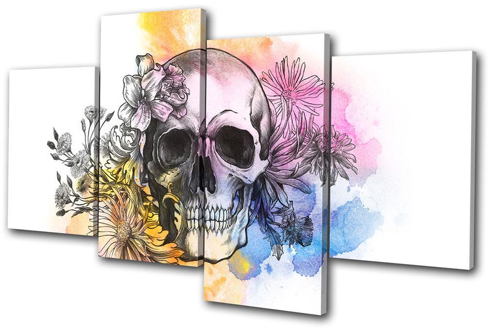 Wall Art Multi Canvas : Graffiti tattoo skull floral multi canvas wall art picture