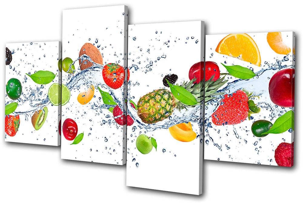 Food Kitchen Fruit Splash  MULTI CANVAS WALL ART Picture Print VA