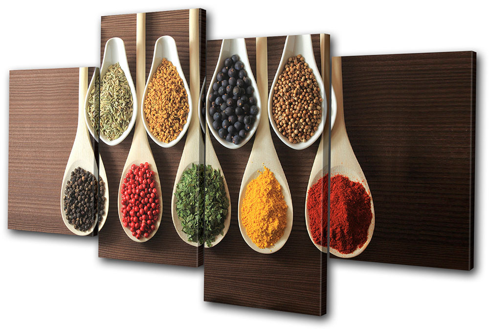 Kitchen Canvas Wall Art food kitchen spices indian multi canvas wall art picture print va