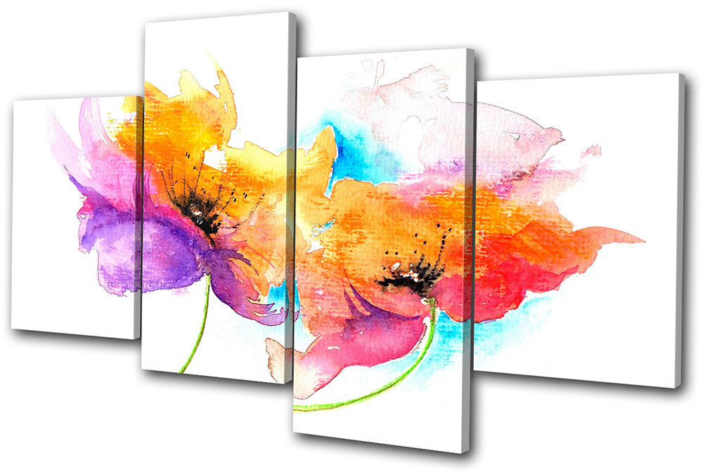 Wall Art Multi Canvas : Floral painting style multi canvas wall art picture print