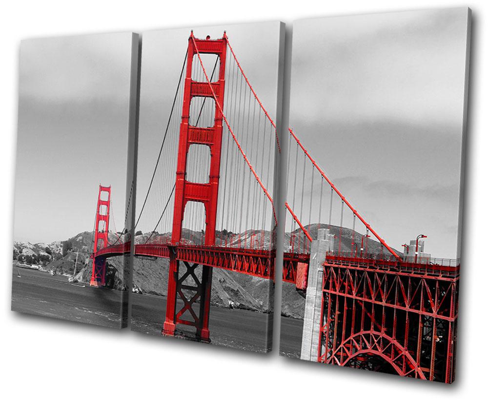 landmarks golden gate bridge treble canvas wall art. Black Bedroom Furniture Sets. Home Design Ideas