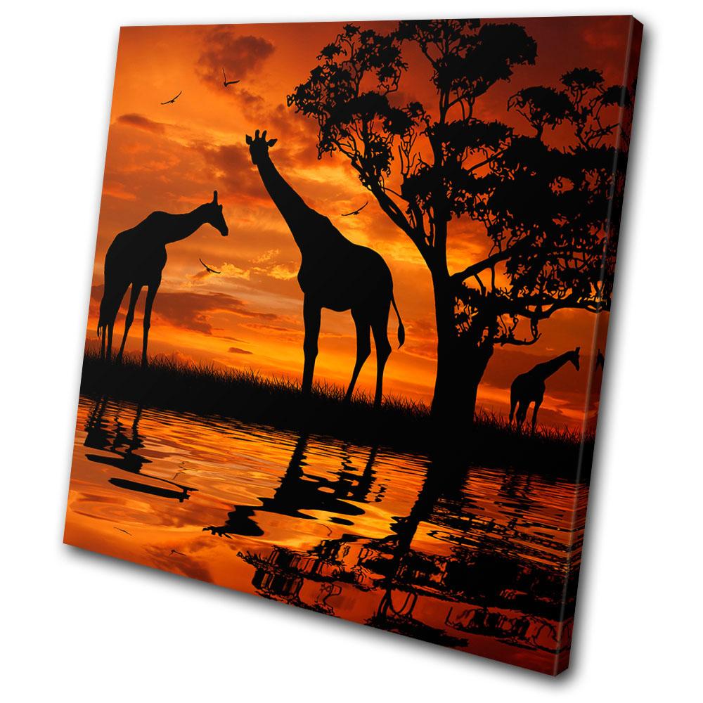 Animals giraffe african sunset single canvas wall art for African wall art