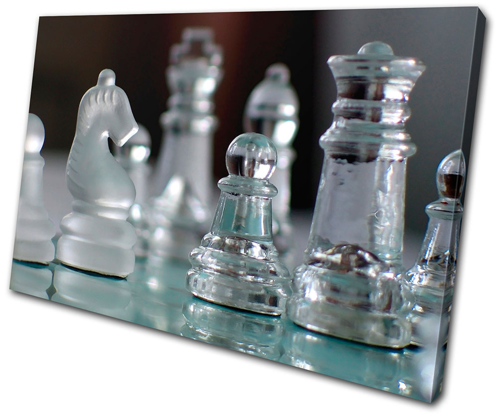 Hobbies Glass Chess Pieces Single Canvas Wall Art Picture