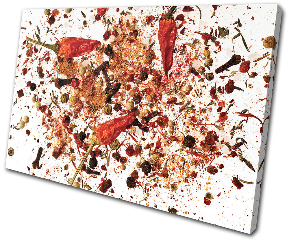 Food Kitchen Kitchen Spices SINGLE CANVAS WALL ART Picture Print VA