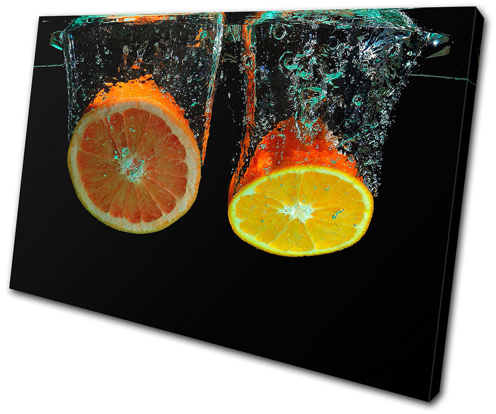 Food Kitchen Fruit Water Splash   BOX FRAMED CANVAS ART Picture HDR 280gsm