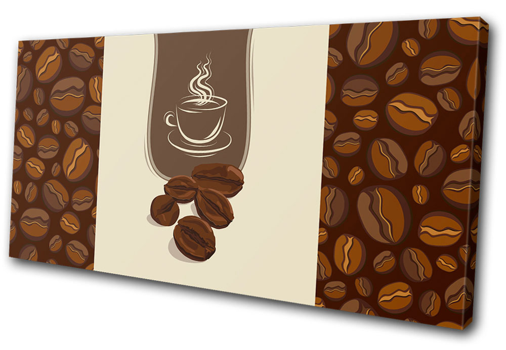 Coffee Beans Design Food Kitchen SINGLE CANVAS WALL ART Picture Print VA