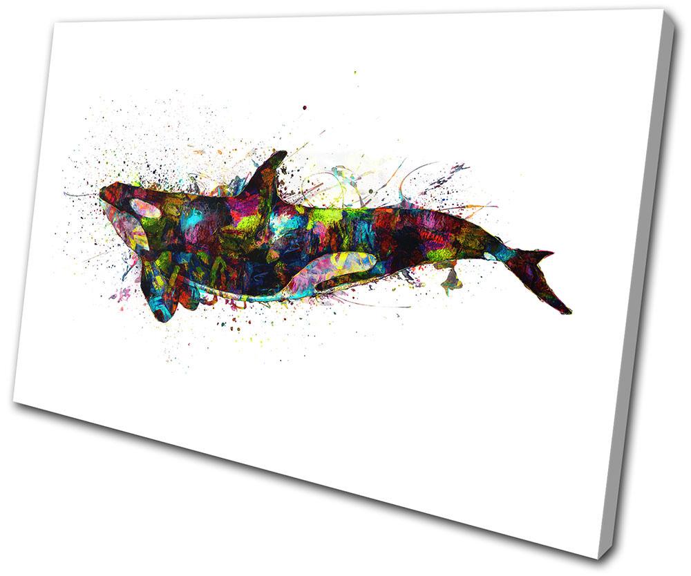 Whale Sea Ocean Abstract Animals SINGLE CANVAS WALL ART