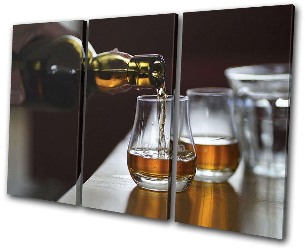 Shabby Chic Whiskey Drink Vintage SINGLE CANVAS WALL ART Picture Print